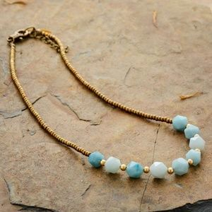"""17"""" Sea blue Amazonite seed gold beaded Necklace"""